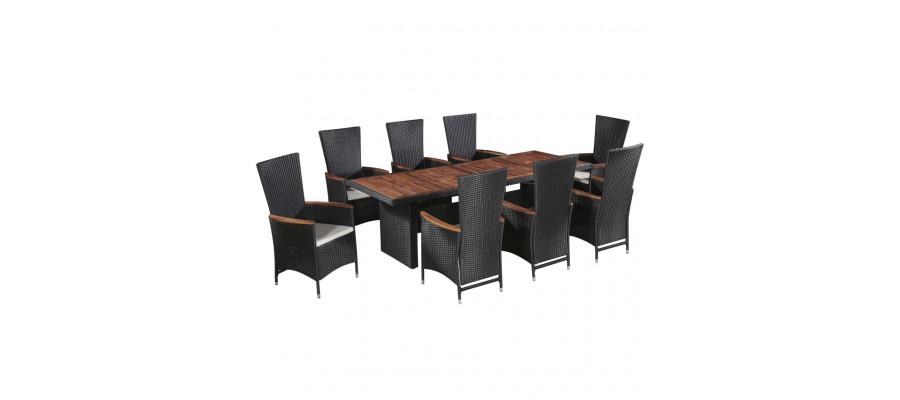 Udendørs spisebordssæt 9 dele med hynder polyrattan sort