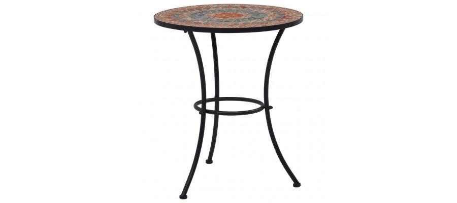 Bistrobord med mosaikdesign keramisk 60 cm orange/grå
