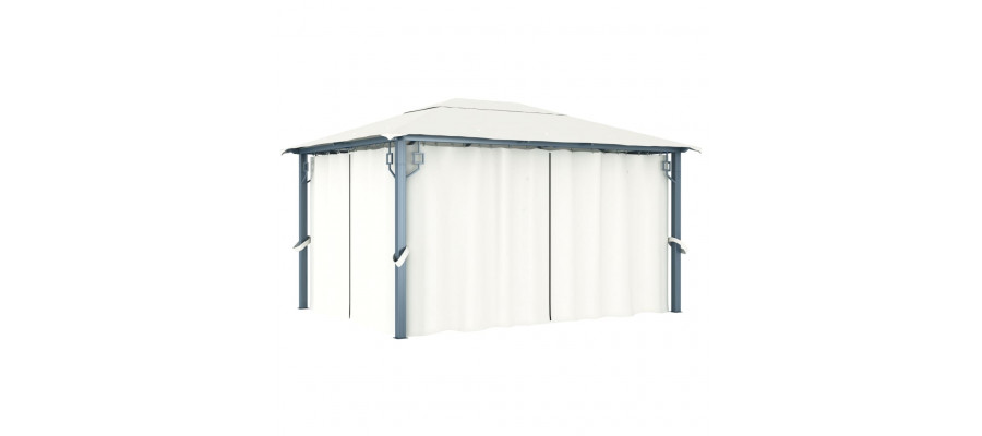 Havepavillon med gardin 400 x 300 cm cremefarvet