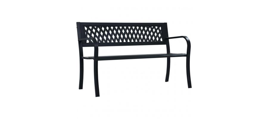 Havebænk 125 cm stål sort