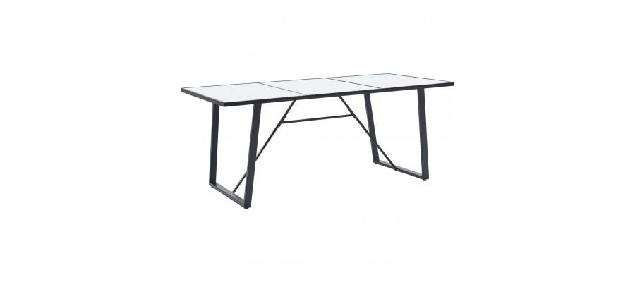 Spisebord 200 x 100 x 75 cm hærdet glas hvid