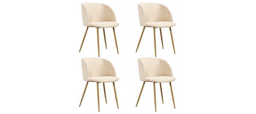 Spisebordsstole 4 stk. stof cremefarvet