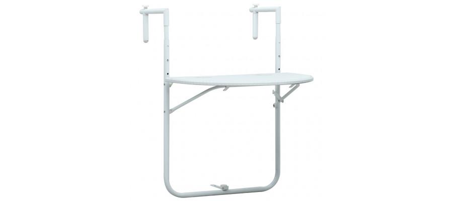 Hængende altanbord 60 x 64 x 83,5 cm plastik rattanlook hvid