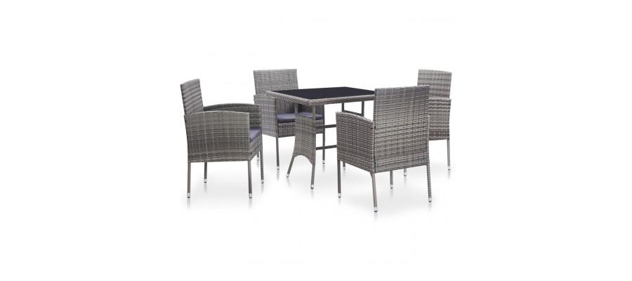 Udendørs spisebordssæt 5 dele med hynder polyrattan grå
