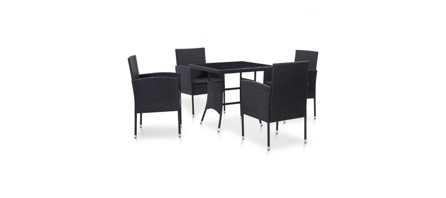 Udendørs spisebordssæt 5 dele polyrattan sort