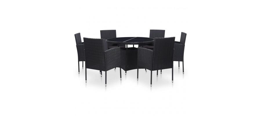 Udendørs spisebordssæt 7 dele med hynder polyrattan sort