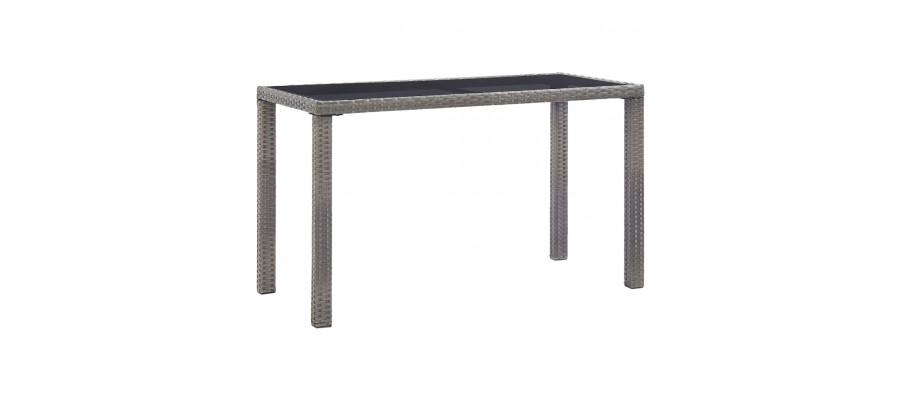 Havebord 123 x 60 x 74 cm polyrattan antracitgrå