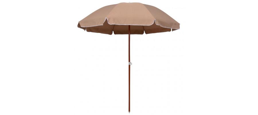 Parasol med stålstang 240 cm gråbrun
