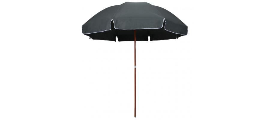 Parasol med stålstang 300 cm antracitgrå