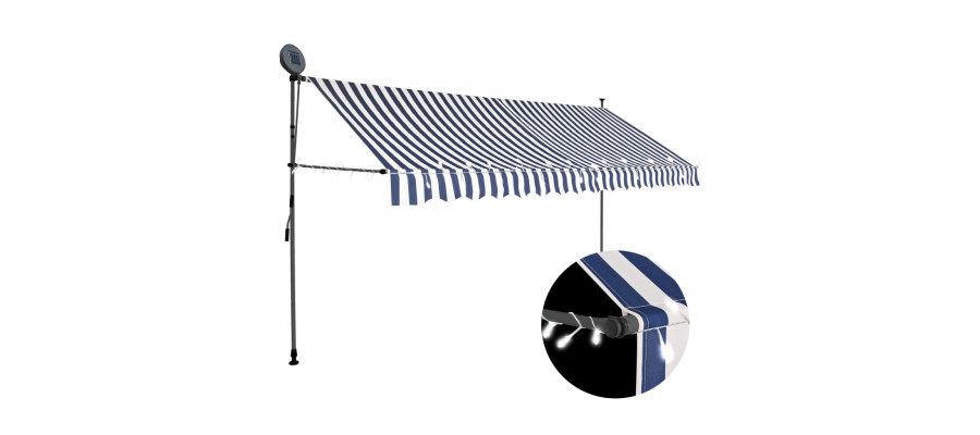 Foldemarkise manuel betjening med LED 350 cm blå og hvid