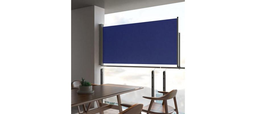 Sammenrullelig sidemarkise til terrassen 120 x 300 cm blå