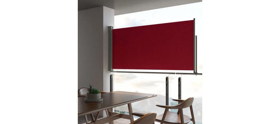 Sammenrullelig sidemarkise til terrassen 120 x 300 cm rød