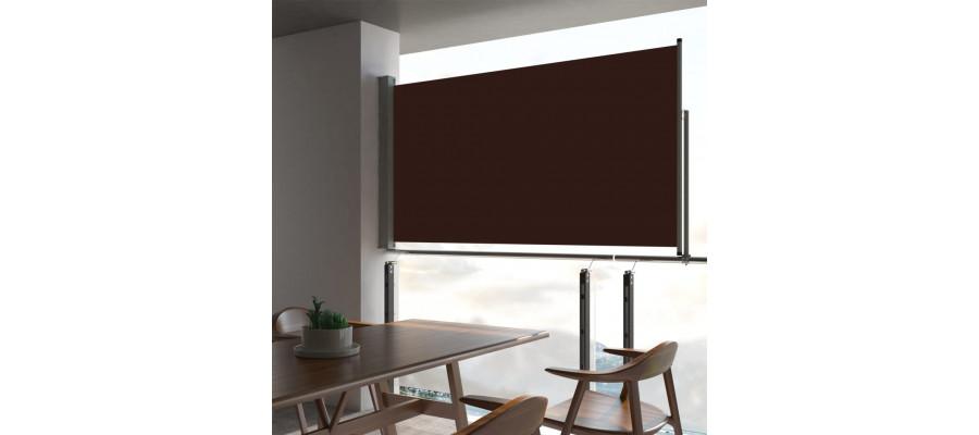 Sammenrullelig sidemarkise til terrassen 160 x 300 cm brun