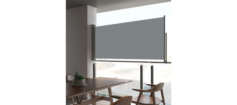 Sammenrullelig sidemarkise til terrassen 60 x 300 cm grå