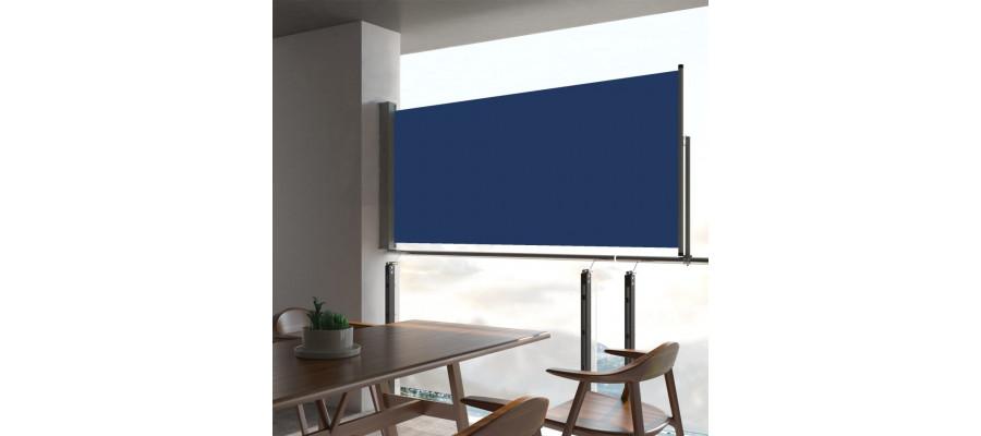 Sammenrullelig sidemarkise 60 x 300 cm blå