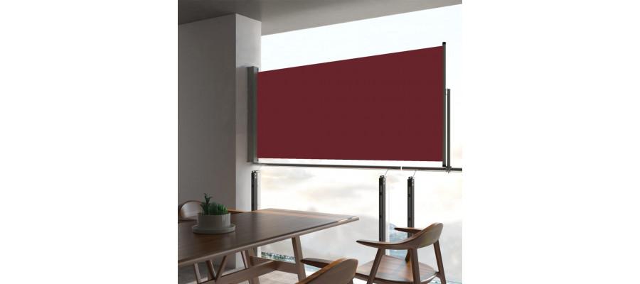 Sammenrullelig sidemarkise til terrassen 60 x 300 cm rød