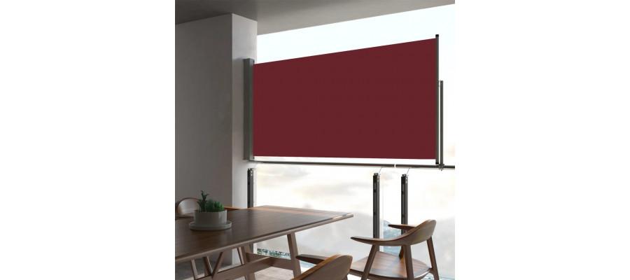 Sammenrullelig sidemarkise til terrassen 80 x 300 cm rød
