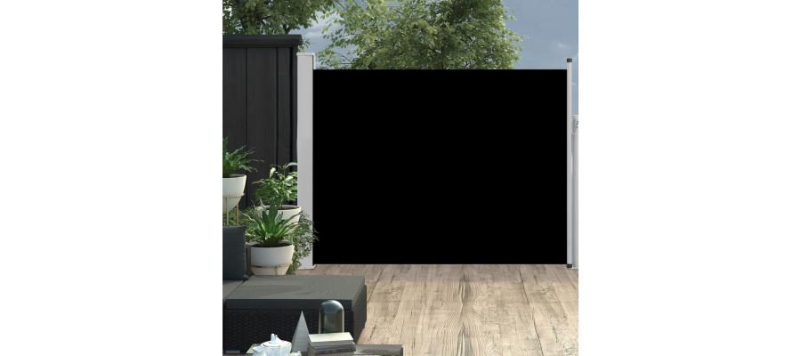 Sammenrullelig sidemarkise til terrassen 140x500 cm sort