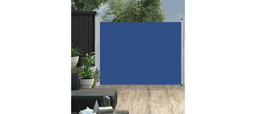 Sammenrullelig sidemarkise til terrassen 140 x 500 cm blå