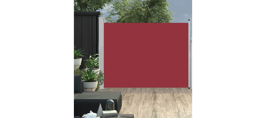 Sammenrullelig sidemarkise til terrassen 140 x 500 cm rød