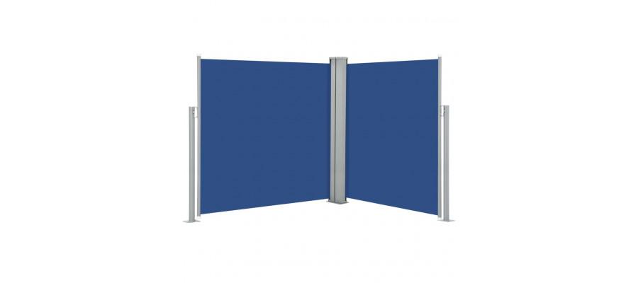 Sammenrullelig sidemarkise 140 x 600 cm blå