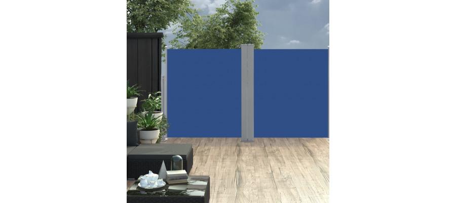 Sammenrullelig sidemarkise 160 x 600 cm blå