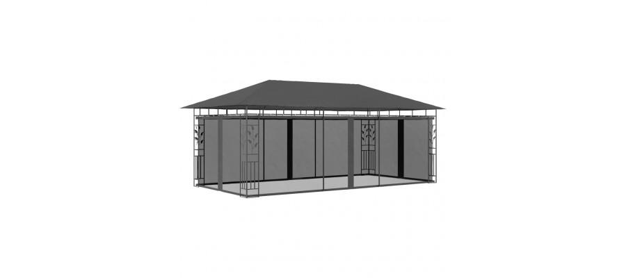 Pavillon med myggenet 6x3x,2,73 m antracitgrå