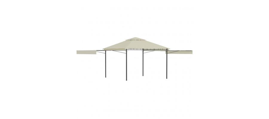 Pavillon med 2 udvidelige tage 3x3x2,75 cm 180 g/m² cremefarvet