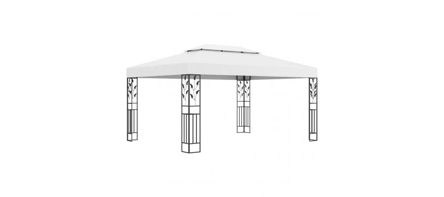 Pavillon med dobbelttag 3x4 m hvid