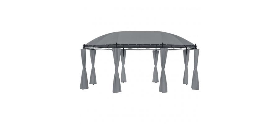 Pavillon med gardiner 530x350x265 cm antracitgrå