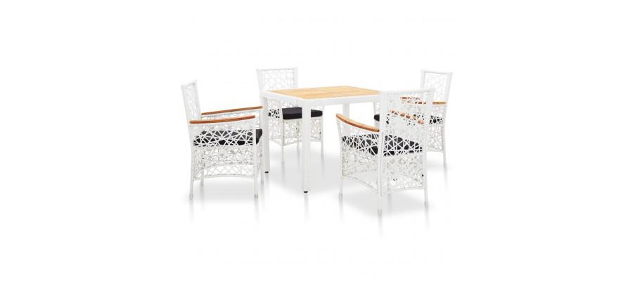 Udendørs spisebordssæt 5 dele polyrattan hvid