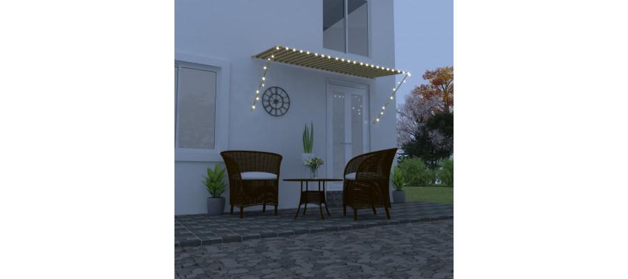 Foldemarkise med LED 300x150 cm gul og hvid