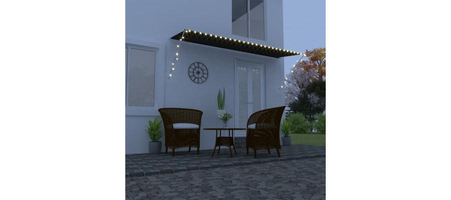 Foldemarkise med LED 400x150 cm antracitgrå