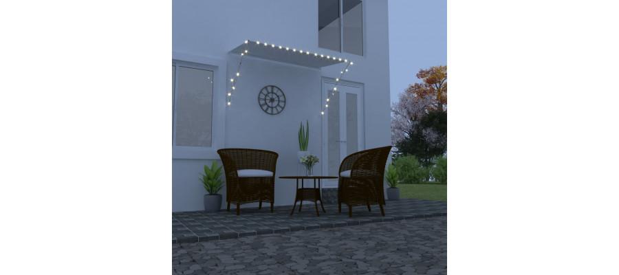 Foldemarkise med LED 250x150 cm cremefarvet