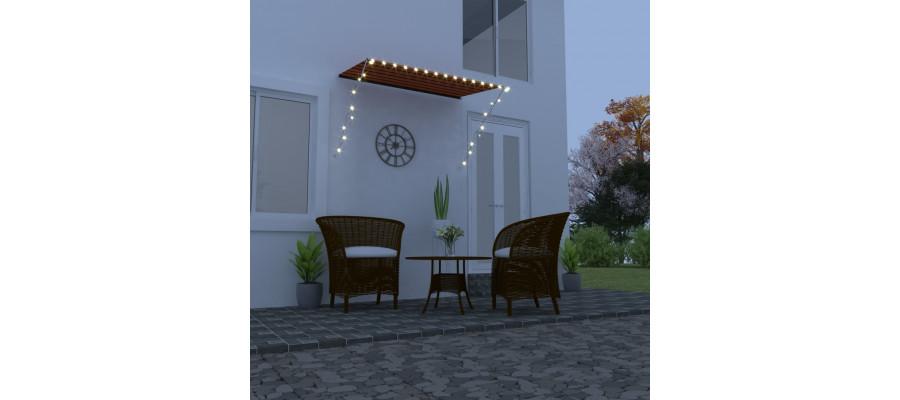 Foldemarkise med LED 200x150 cm orange og brun