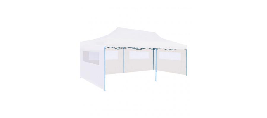 Foldbart pop-op-festtelt med sidevægge 3 x 6 m stål hvid