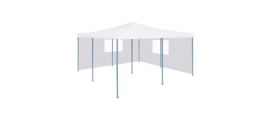 Foldbar pavillon med 2 sidevægge 5 x 5 m hvid