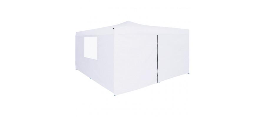 Foldbar pavillon med 4 sidevægge 5 x 5 m hvid