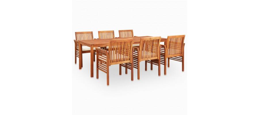 Udendørs spisebordssæt 7 dele med hynder massivt akacietræ