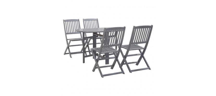 Spisebordssæt til haven 5 dele massivt akacietræ grå