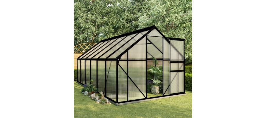 Drivhus med fundamentramme 7,03 m² aluminium antracitgrå