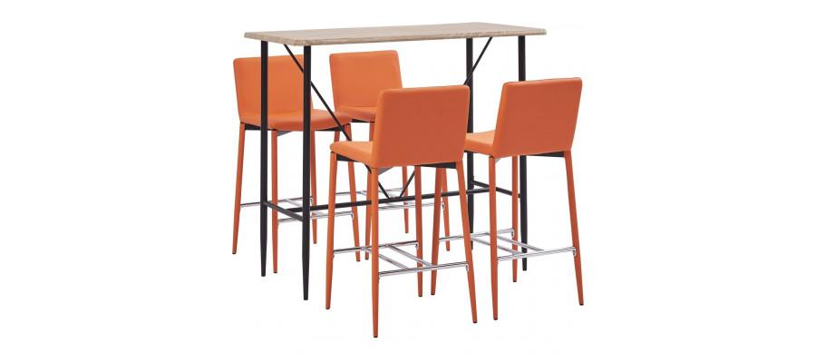 Barsæt 5 dele kunstlæder orange