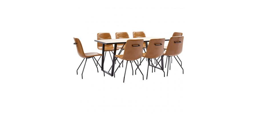 Spisebordssæt 9 dele kunstlæder cognacfarvet