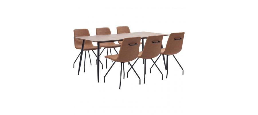 Spisebordssæt 7 dele kunstlæder brun