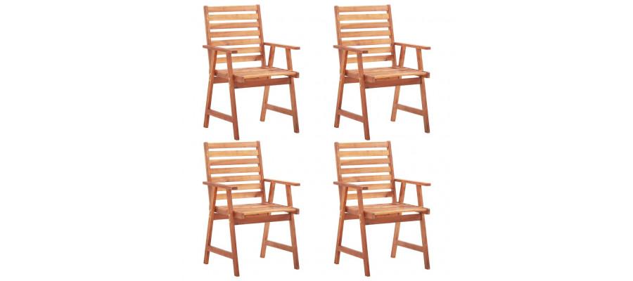 Udendørs spisebordsstole 4 stk. massivt akacietræ