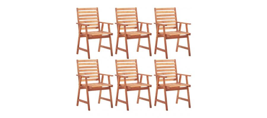 Udendørs spisebordsstole 6 stk. massivt akacietræ