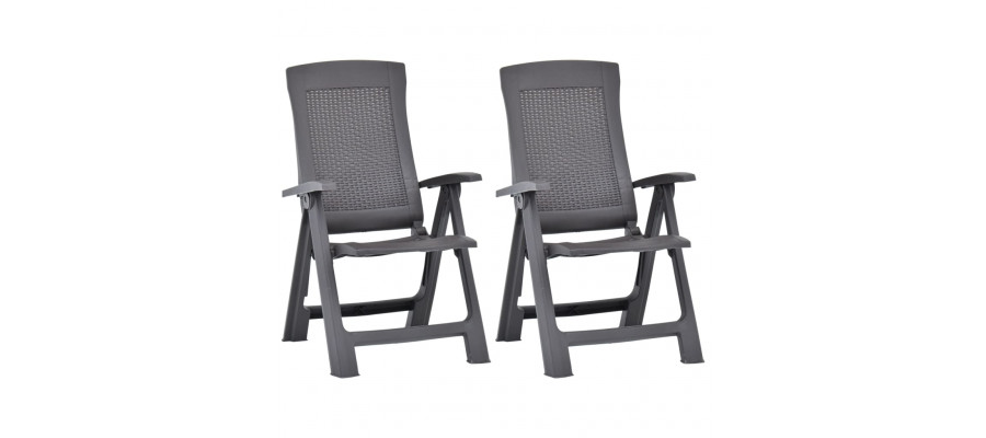 Havelænestole 2 stk. plastik mokkafarvet
