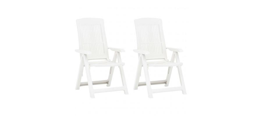 Havelænestole 2 stk. plastik hvid