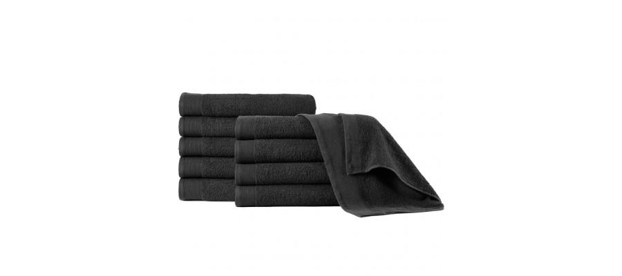 Håndklæder 5 stk. bomuld 450 gsm 50x100 cm sort