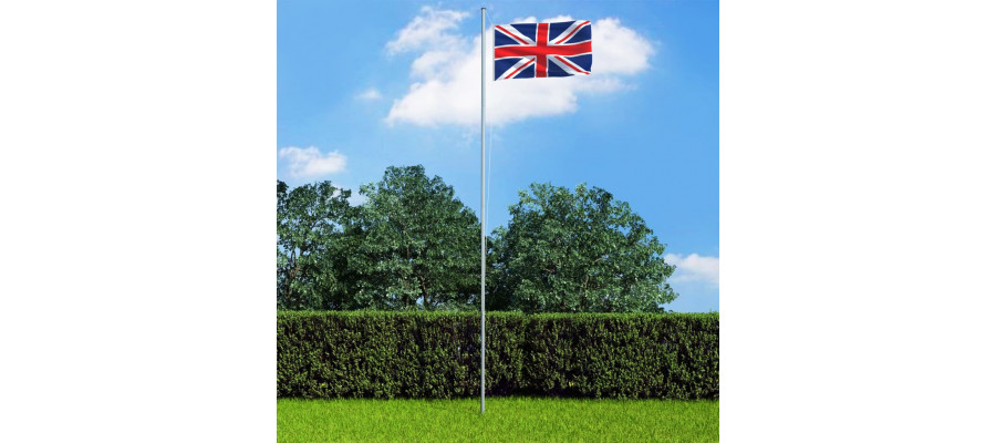 Storbritanniens flag og flagstang 6,2 m aluminium